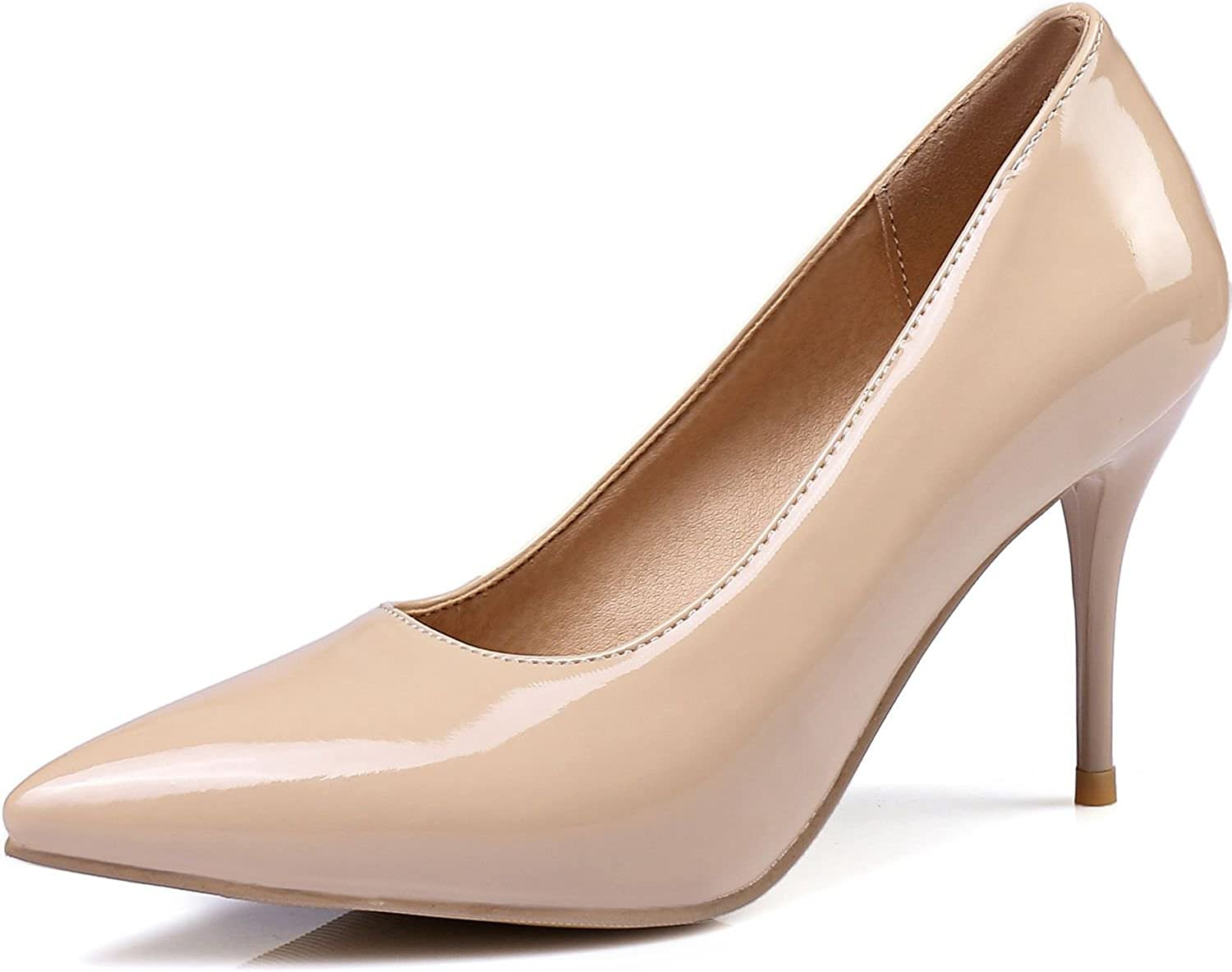 KingRover Women's Classic Fashion Pointed Closed Toe Stiletto Work Office Dress Pumps,5 B(M) US,Beige