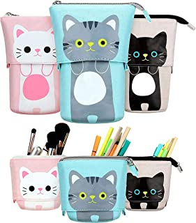 Cozy 3 pcs Pencil Case Transformer Stand Store Pencil Holder PU Cartoon Cute Cat Pencil Pouch Stationery Pen Case Box for ...