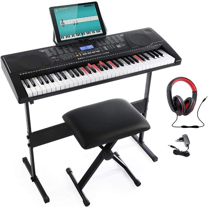 Pianola elettronica 61 tasti luminosi pianoforte multifunzione con supporto sgabello e cuffie B08DYGC6V3