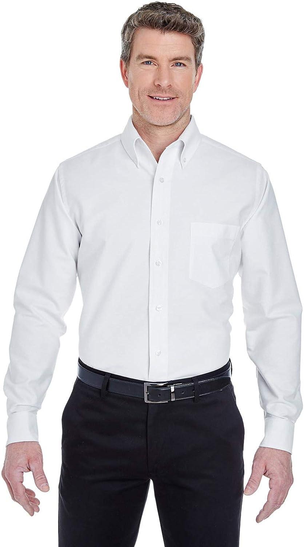 UltraClub 8970T Mens Tall Classic Wrinkle-Free Long-Sleeve Oxford Shirt - White44; 2XLT