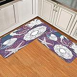 Juego de alfombrillas de cocina de 2 piezas,Acuático Dibujo Conchas Nautilus Vieira Coral, Alfombra antideslizante con respaldo para alfombra de cocina, lavable y duradera, alfombra de corredor