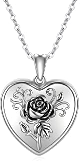 RBG Dissent Heart Locket Necklace Locket Necklace That Holds Pictures 925 Sterling Silver Rose Flower Photo Necklace Pictu...