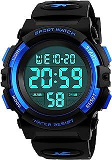 ragazzi orologi digitali, bambini sport 5 atm impermeabile orologio con sveglia/cronometro/EL Light, blu per bambini all' ...
