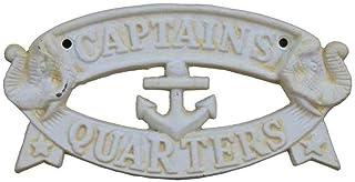 Hampton Nautical Cast Iron Decoration Captain's Quarters Sign Metal Wall Plaque,..