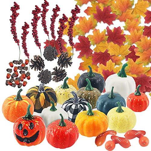 Thanksgiving Künstliche Kürbisse, 149 Stücke Gefälschte Früchte Set, Ahornblättern, Kürbis, Tannenzapfen, Eicheln Artificial Set für Halloween/Hochzeit/Zuhause/Weihnachten