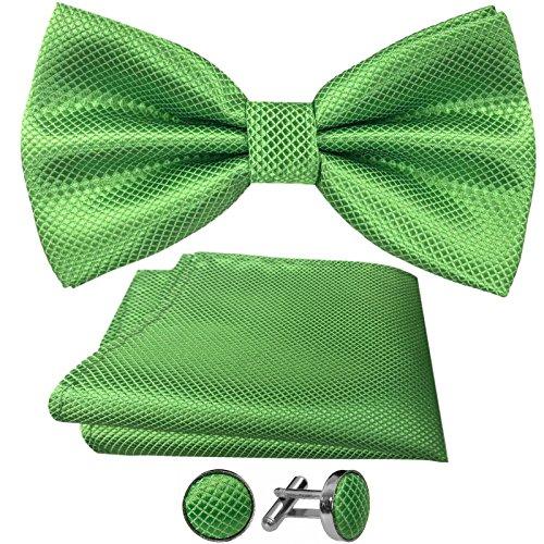 GASSANI GASSANI 3-SET Grüne Fliege Grid Karo kariert | Schleife Manschettenknöpfe Einstecktuch Grün | Fliegenset zum Anzug Seide-Optik