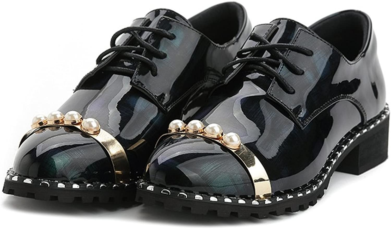 Btrada Elegant Elegant Elegant Woherrar Bling Beads Rivet Round Toe Low Thick Heel Lace -Up Oxfordskor  bara för dig