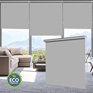 LUCKUP 100% Blackout Waterproof Fabric Window Roller Shades Blind, Thermal Insulated,UV Protection,for Bedrooms,Living Room,Bathroom,The Office, Easy to Install 26