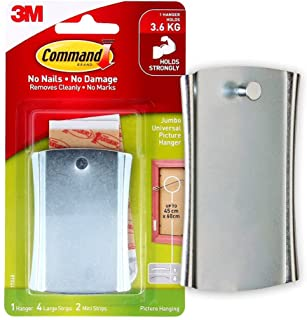Command Jumbo self adhesive, Metal picture hanger,1 Hanger, 4 Strips, Damage -Free Hanging, holds upto 3.6Kg, Silver
