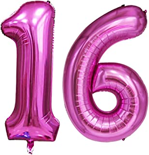 GOER 42 Inch Pink 16 Number Balloons for 16th Birthday Party Decorations,Jumbo Foil Helium Balloons for Sweet 16 Party,16th Anniversary