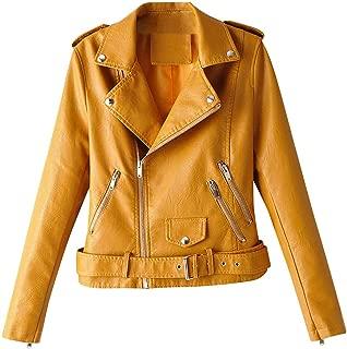 〓COOlCCI〓Women's Leather & Faux Leather Jackets & Coats,Zipper Moto Biker Short Coat Jacket with Pockets Windbreaker Tops