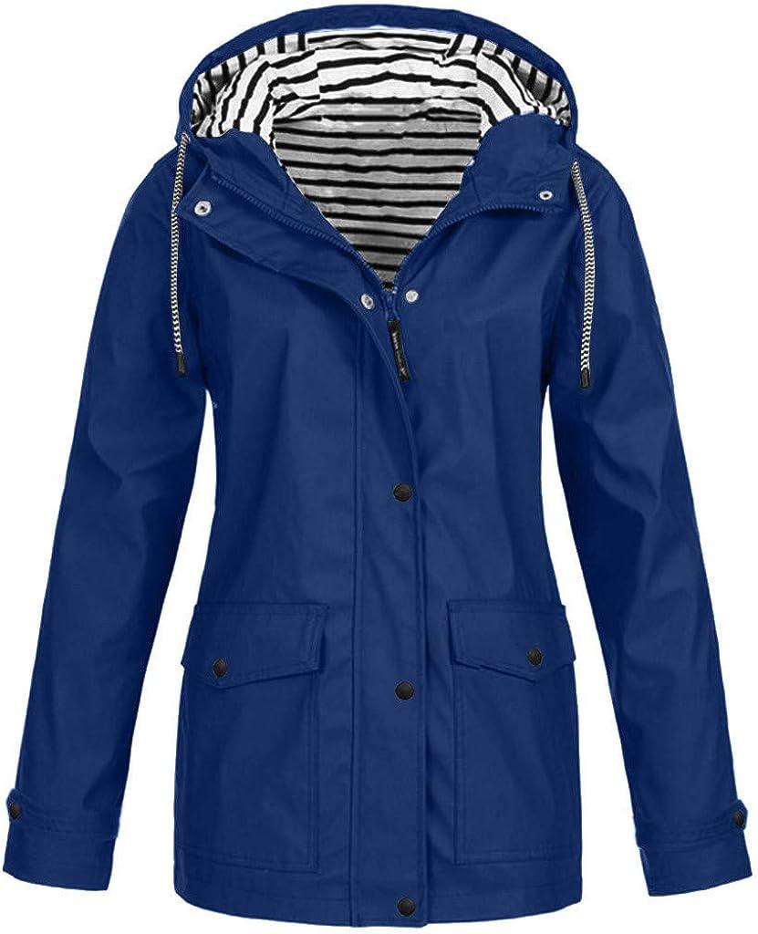 Waterproof Hooded Jacket Women Solid Windproof Outdoor Raincoat Plus Size Winter Coats with Pocket