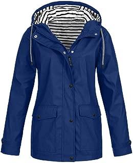 Opinionated Rain Jackets for Women Plus Size Zipper Raincoats Hoodie Solid Long Sleeve Waterproof Windproof Outdoor Coats