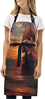 YIXKC Apron Pirate Ship Backgrounds Adjustable Neck with 2 Pockets Bib Apron for Family/Kitchen/Chef/Unisex