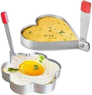 Anillo de Huevo, Molde de Panqueque de Acero Inoxidable para Freír y dar Forma a los Huevos, Antiadherente, en Forma de Corazón y Flor