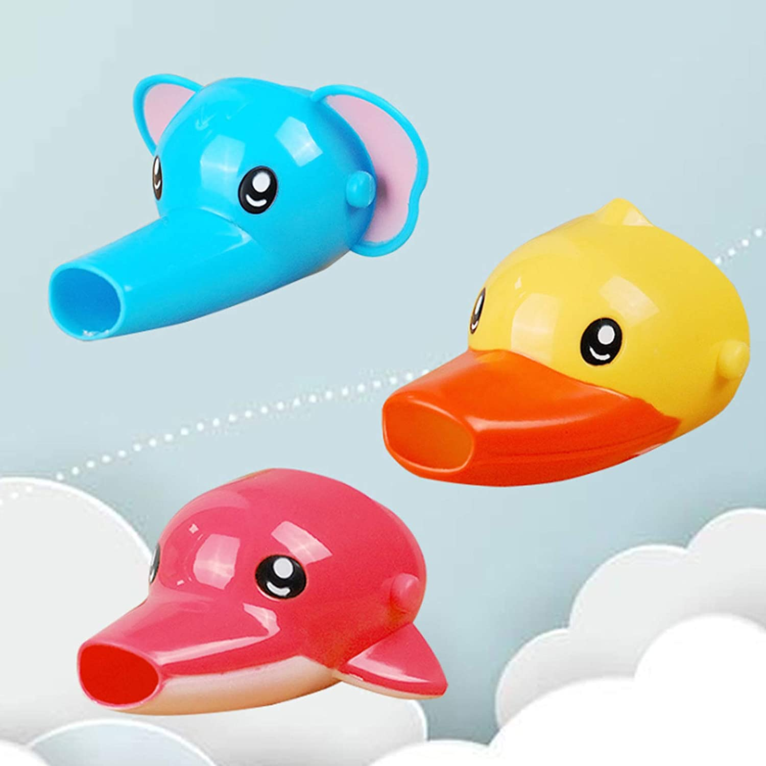 Faucet Extender for Kids - Set of 3 Animal Spout Extenders for Sink Faucets - Hand Washing for Babies, Toddlers & Children (Elephant + Duck+Dolphin) (Pink Dolphin+Blue Elephant+Yellow Duck)