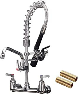 """JZBRAIN Pre rinse Faucet 8'' Center 21 Inch Height Commercial Sink Faucet with 1.42GPM Sprayer Wall Mount Commercial Kitchen Faucet with 8"""" Add-on Swing Spout"""