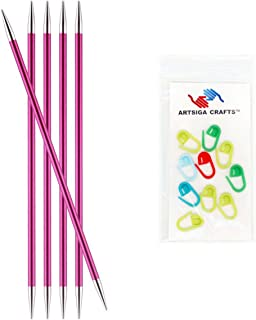Knitter's Pride Knitting Needles Zing Double Pointed 8 inch Size US 8 (5mm) Bundle with 10 Artsiga Crafts Stitch Markers 140041