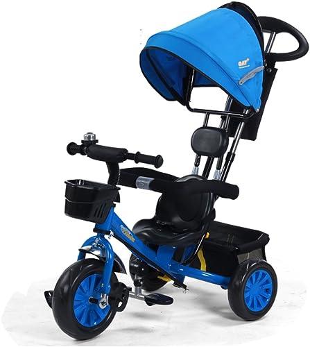 Kinder Dreirad Stellen Sie Die Doppelte Druckstange Ein Schaumrad Mit Glocke Wagen 1-5 Jahre Alt Sonnenschutzmarkise Einstellen Fahrrad 85  50  100 Cm (Farbe   Blau)