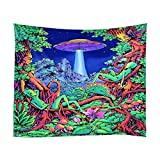 Yinrunx Magical Trippy Psychedelic Tapestry Forest Tree Alien Dinosaur Mountain UFO Spaceship Tapestry Wall Hanging for Bedroom Living Room Dorm(H59×W78)