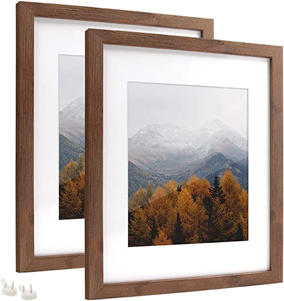 Afuly 11x14 Brown Picture Frames Set With 8x10 Mat For Gallery Wall And Desk Office Walnut Wood Color 2 Pack