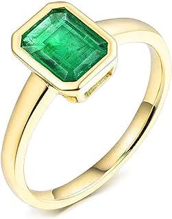 Daesar Anello in Oro Giallo 18K, Anelli Donna Fidanzamento Anello Smeraldo Donna 1.53ct Rettangolo Anelli Nuziali Oro