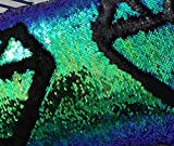 Zdada 1Yard Reversible Sequin Fabric - Green and Black Mermaid Sequin Fabric by The Yard Two Colors Flip Up Sequin Material for Clothing Wedding/Evening Dress DIY