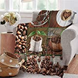 Summer Comforter Blanket Collage of Coffee Beans in Cups and Bags with Green Leaves on Wooden Table Photo Brown Green Bedroom Dorm Sofa Baby Cot Beach W54 xL84
