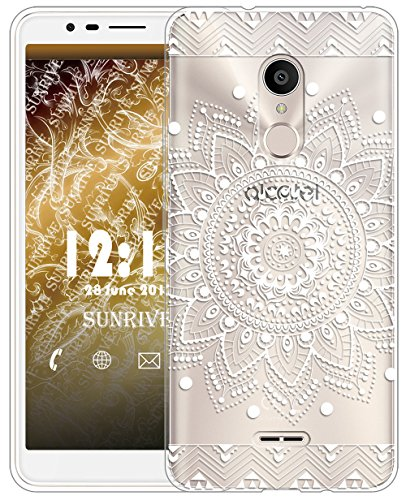 Sunrive Für Alcatel 3C Hülle Silikon, Transparent Handyhülle Schutzhülle Etui Hülle für Alcatel 3C(TPU Blume Weiße)+Gratis Universal Eingabestift