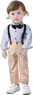 Baby Toddler Gentleman Suit Boys Stripe Bow Tie Shirt Suspender Khaki Bid Pants Overalls Sets