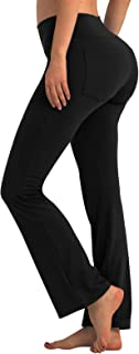 PCGAGA Womens Yoga Pants Bootcut with 2 Pockets High Waist Workout Running Pants Straight-Leg Flare Pants for Casual Work
