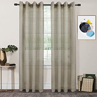 FY FIBER HOUSE Sheer Voile Window Curtains for Living Room with Grommet Panels, 2 Panels,54 by 63-Inch, Taupe