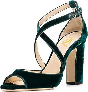Women Elegant Peep Toe Sandals Chunky High Heel Pumps Cross Strap Velvet Suede Dress Pumps Size 4-15 US