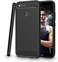 Dashmesh Shopping Carbon Fiber Brushed Texture Shockproof Back Case Cover for Honor 7X (Midnight Black)