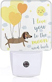 Xuforget I Love You Cute Dog with Balloons and Hearts Sun Clouds Puppy Ultra Slim LED Night Light with Auto Dusk to Dawn Sensor for Stairways