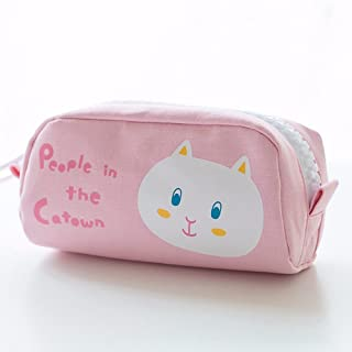 A student in the bear pen bag creative cute female Korean version of the simple canvas large pencil zipper bag stationery bag,Sprout - canvas