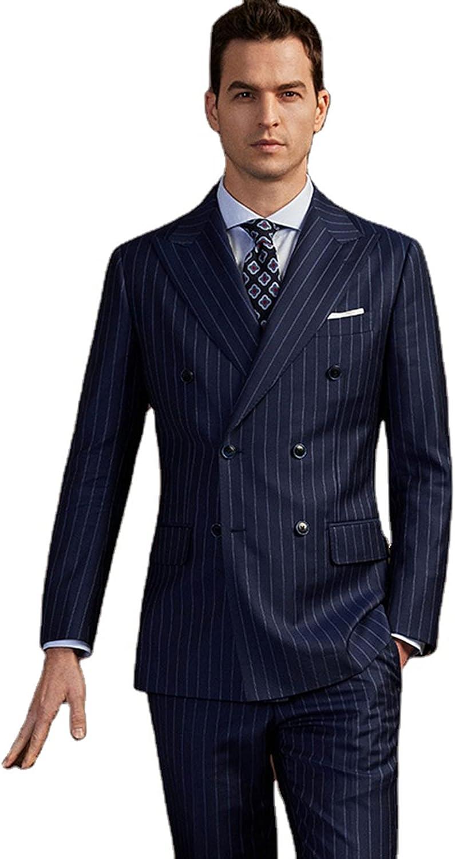 Men's Two-Piece Suit Striped Pointed Lapel Wedding Groom Suit Blazer Pants