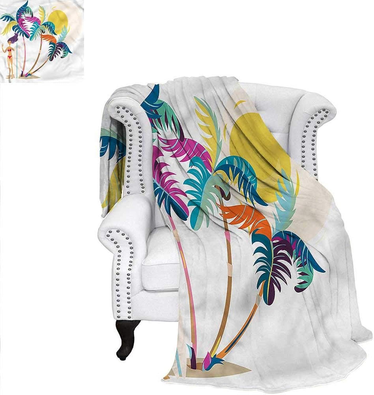 RenteriaDecor Surf Blanket Cartoon Girl on Tropical Beach Weave PatternBlanket 60 x50