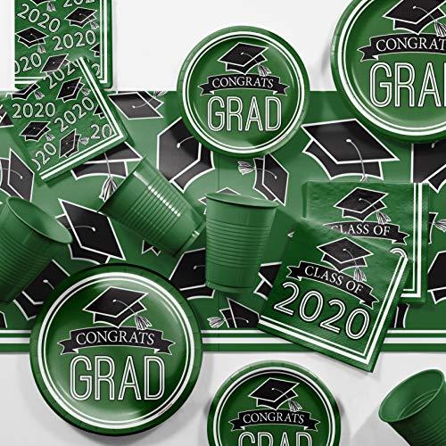Graduation Class of 2020 School Spirit Green Deluxe Party Supplies Kit, Serves 36