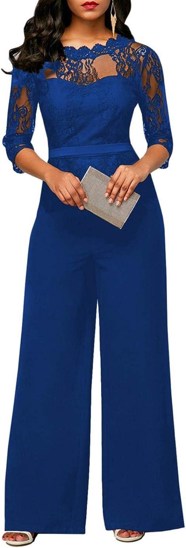Women Evening Party Sleeve Lace Jumpsuit