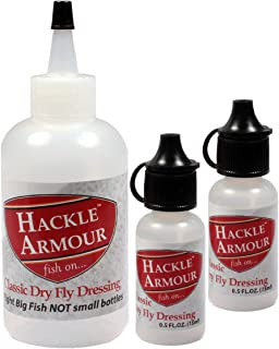 Hackle Armour Classic Dry Fly Dressing System: Full Stream Side Bottles and Refill - Long Lasting Floatant