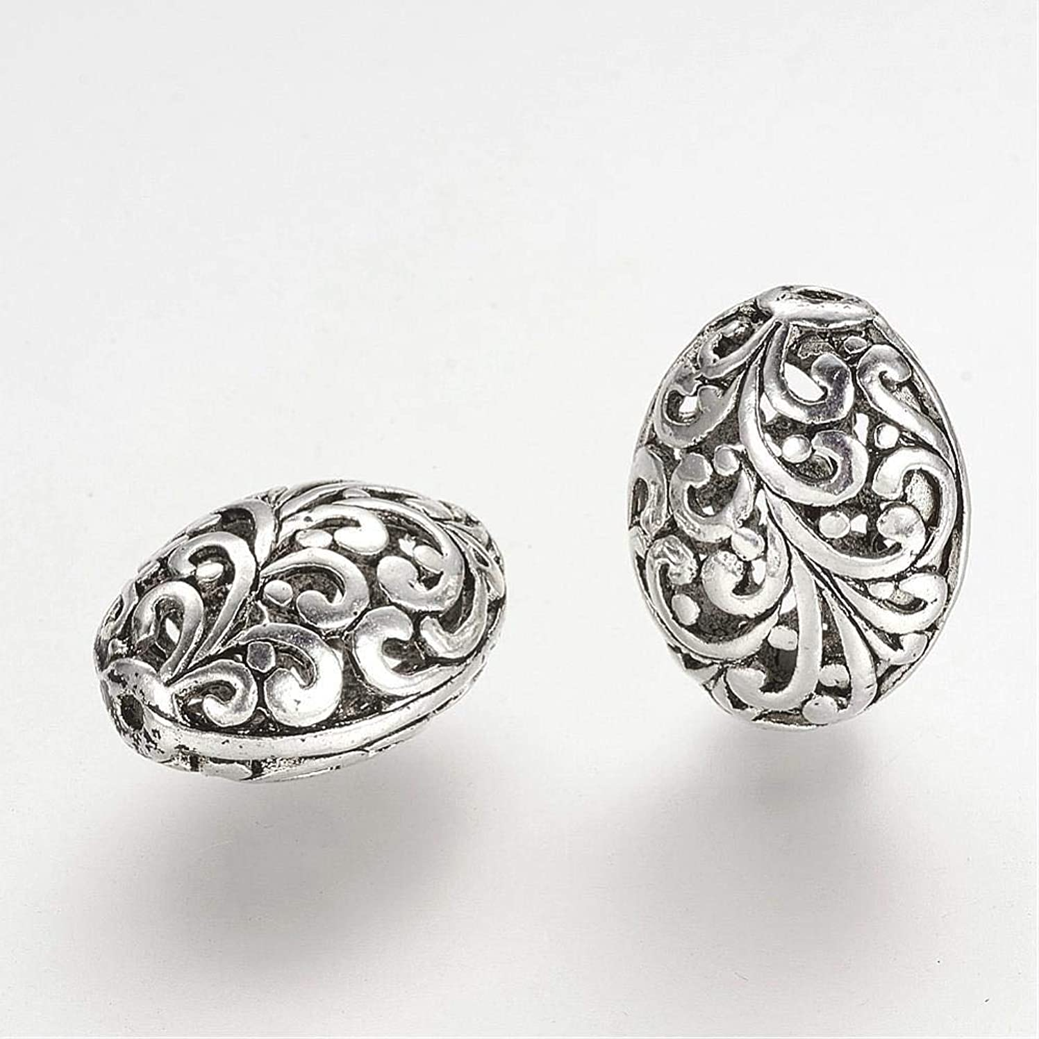 AMZ Beads - Antique Scroll Alloy Filigree Hollow Tibetan Oval Jewelry Making Craft Beads - 10 pcs (Silver)
