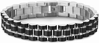 Steve Madden Stainless Steel Three Row Black Link Bracelet for Men