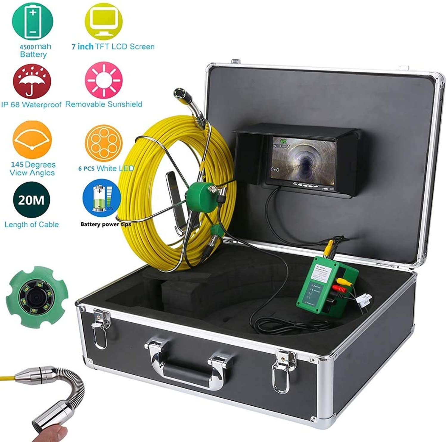 Pipe Inspection Video Camera, 20M IP68 Waterproof Drain Pipe Sewer Inspection Camera System 7 LCD 1000 TVL Camera with 6W LED Lights