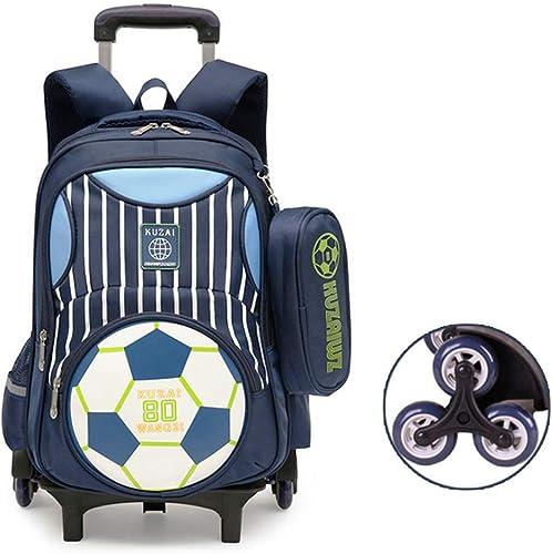 BYGenMai Schultrolley Schulranzen Kinderrucksack mit Verstellbarer Trolley-Schultasche für mädchen und Jungen,B