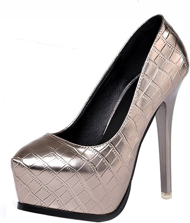 1TO9 Womens Spikes Stilettos Platform Low-Cut Uppers Metallic Microfiber Pumps shoes - 5.5 B(M) US