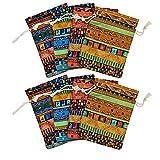 Soapow 8 bolsas de algodón y lino con cordón de estilo étnico para regalo de joyas, bolsas de té y hojas