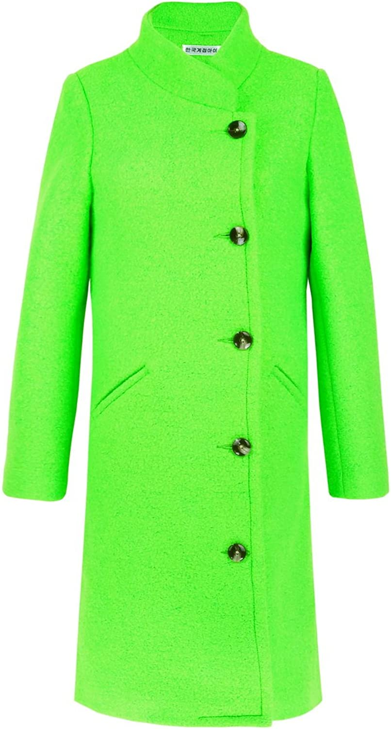 Get The Looks Double Breasted Acid Green Long Coat