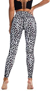Aingrirn Anti Cellulite Leggings with Side Pockets, Opaque Women's Sports Tights, Everyday Sports Yoga Pants, Leopard Pattern