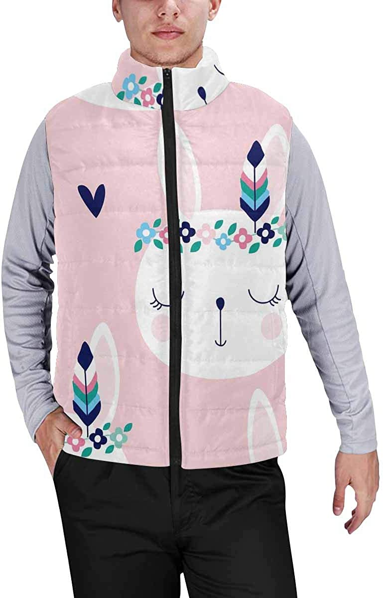 InterestPrint Winter Outwear Casual Padded Vest Coats for Men Cute Watercolor Whale and Ship